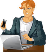 Giovani uomini con telefono e portatile — Vettoriale Stock