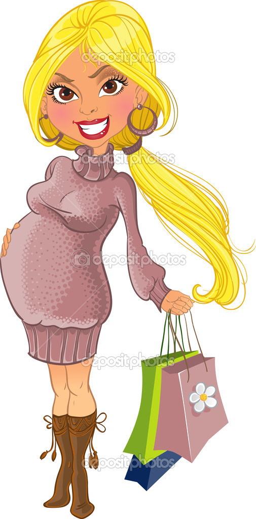 Shopping pregnant woman in violet sweater — Stock Vector #1426846