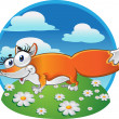 Cheerful Fox on background — Stock Vector #1432997
