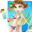 Stock Vector: Pretty girl on beach
