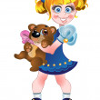 Girl and teddy bear — Imagen vectorial