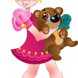 Girl in pink dress and teddy bear - Stock Vector