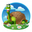 Vector turtle on color background — Stock Vector