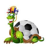 Turtle football fan — Stock Vector
