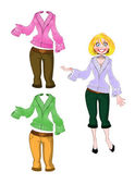 Girl in breeches and sweater — Stock Vector
