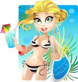 Yaz sarışın kız sahilde — Stok Vektör