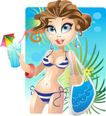 Pretty girl on the beach — Stock Vector