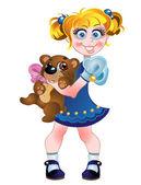 Girl and teddy bear — Stock Vector
