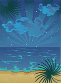 Summer nocturnal beach — Stock Vector