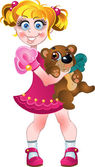 Girl in pink dress and teddy bear — Stock Vector