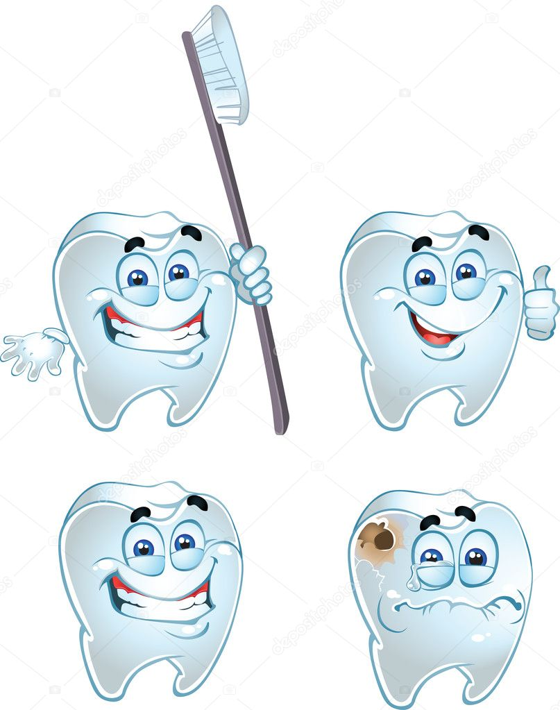 Vector emotional teeth isolated on a white background — Stock Vector #1433120