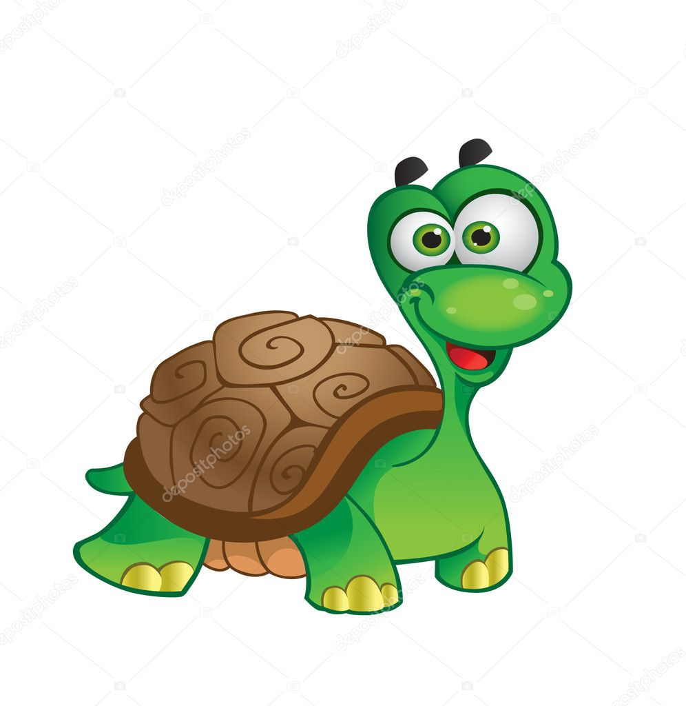 Vector cartoon tortoise on white background  Stock Vector #1433994