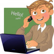 Boy with phone and laptop — Stock Vector