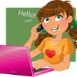 Girl with phone and pink laptop — Vector de stock