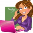 Brown-haired woman with phone and laptop - Stock Vector