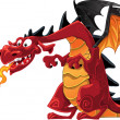 Magical red dragon - Stock Vector
