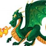 Green fire-spitting dragon — Stock Vector