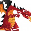 Stock Vector: Red fire-spitting dragon