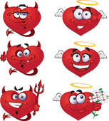Angels and devils VValentine`s smiles — Stock Vector