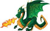 Drago sputa fuoco verde — Vettoriale Stock