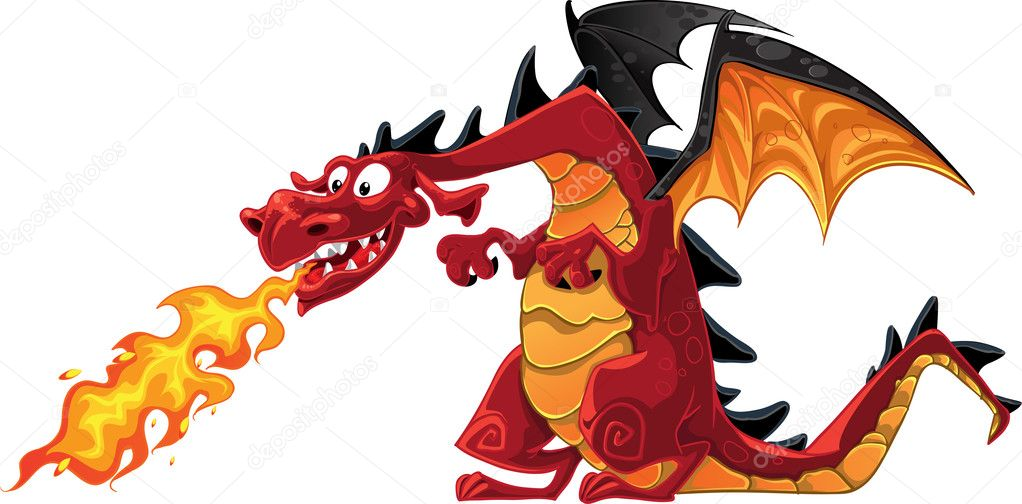 Vector fabulous magical red with teeth fire-spitting dragon — Stock Vector #1451402