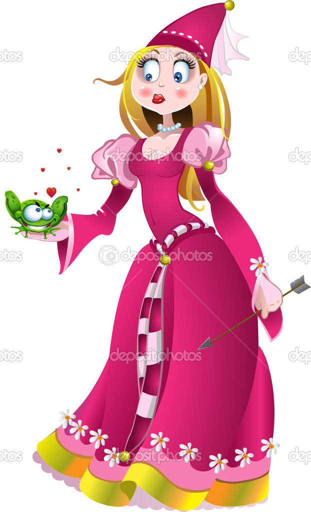 charming princess with a frog stock vector 169 yadviga
