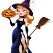 Vector beautiful witch and pumpkin — Stock Vector
