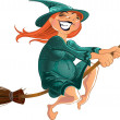 Stock Vector: Cheerful witch on broom