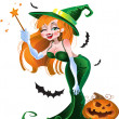 Stock Vector: Green vector sexy witch