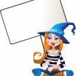 Witch with white text area — Stock Vector
