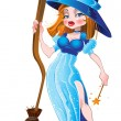 Stock Vector: Sexy witch in blue dress