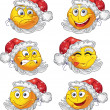 Set of butch New year smiles - Stock Vector