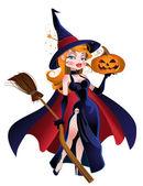 Vector beautiful witch in cloak — Stock Vector