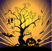 Vector paisaje de halloween — Vector de stock