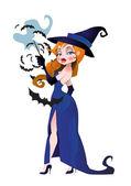 漂亮女巫与蝙蝠 — 图库矢量图片