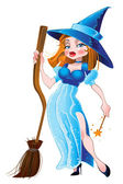 Sexy witch in blue dress — Stock Vector