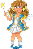 Pretty little girl with magic wand — Stock Vector