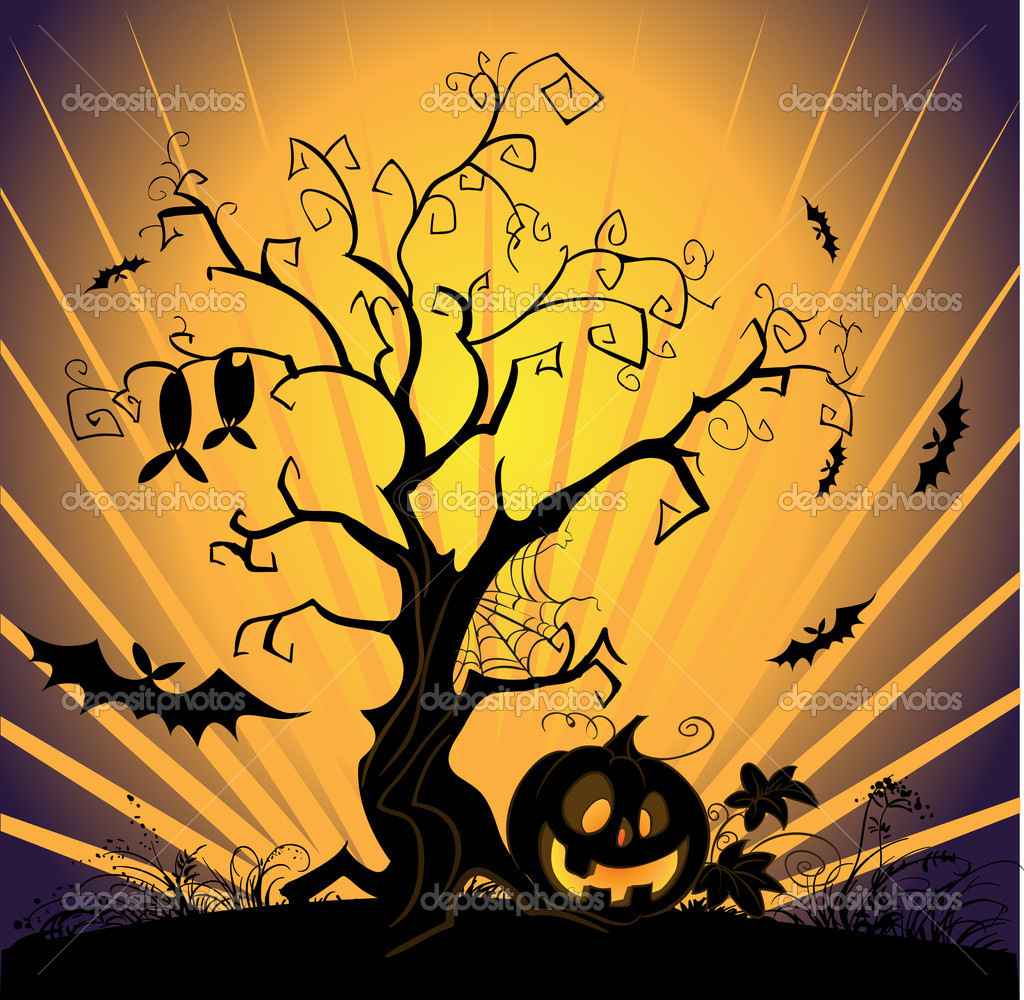 Vector halloween landscape  Stock Vector #1461595