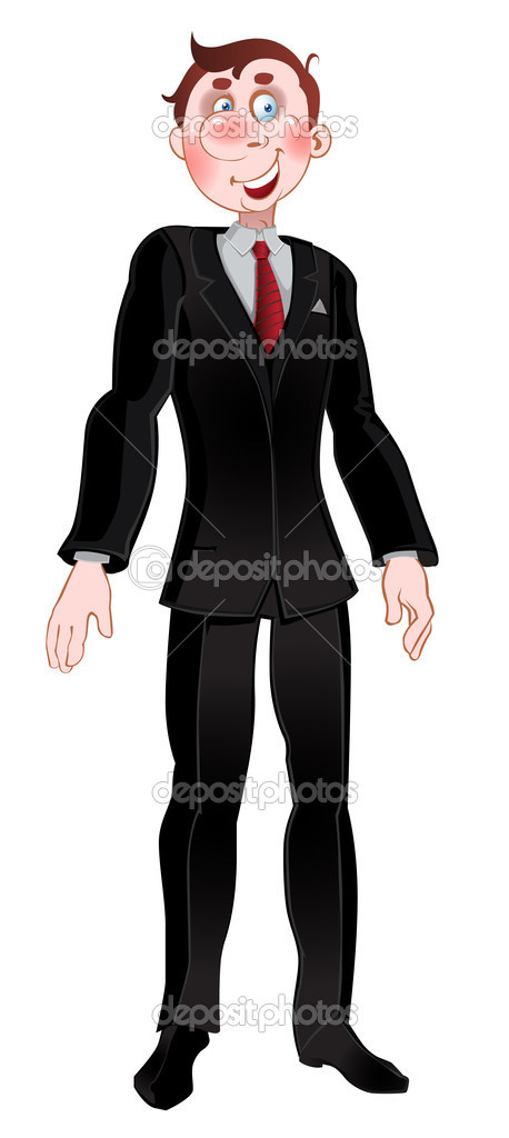 Vector picture men in black suit — Stock Vector #1543126
