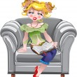 Girl and a book on white armchair — Stock Vector