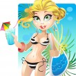Blond girl on the beach in swimsuit - Stock Vector