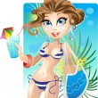 Pretty girl on the beach — Stock Vector #1552571