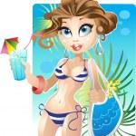 Pretty girl on the beach — Stock Vector