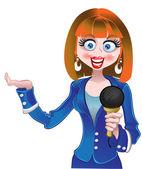 Vector beautiful reporter girl in blue — Stock Vector