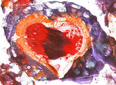 Valentine`s day heart gouache monotypy p — Stock Photo