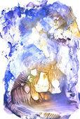 Winter blue gouache monotypy painting — Stock Photo