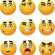 Set of batch from 9 emotion smiles — Image vectorielle
