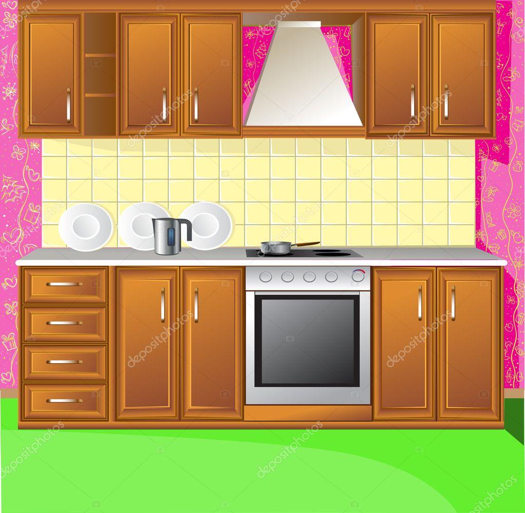 Light Pink Kitchen Stock Vector Yadviga 1822003