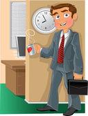 Employé de bureau avec tasse — Vecteur