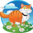 Orange fat cat on the color background — Stock Vector